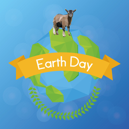 sea goat: our isolated planet with a goat, a laurel wreath and a ribbon with text Illustration