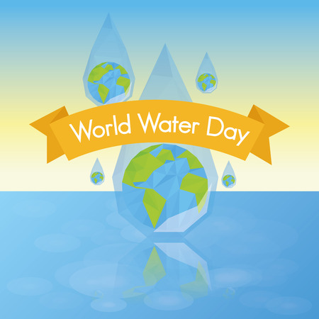 an isolated drop of water with our planet and a ribbon with text Vector