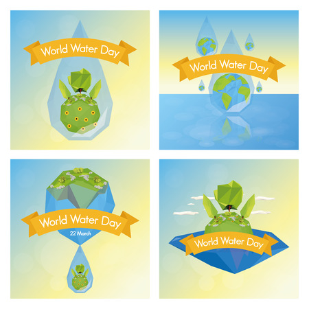a set of different colored backgrounds with our planet and different landscapes Vector