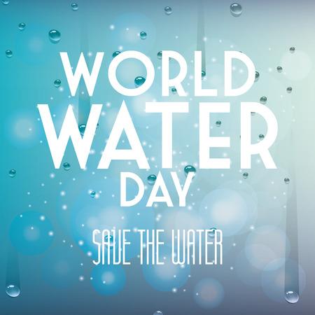 un fondo azul con el texto y el agua para el día mundial del agua Ilustración de vector