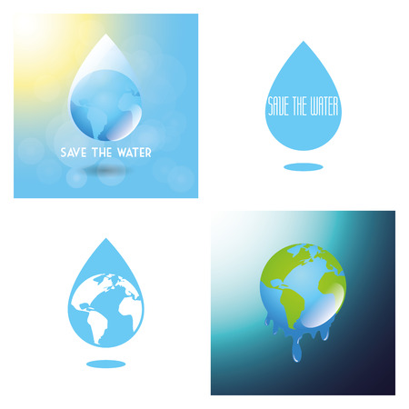 water's: a set of colored backgrounds with drops of waters and earth planets Illustration