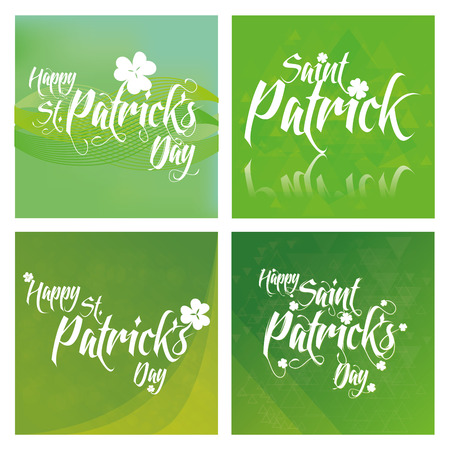 textured backgrounds: a set of green textured backgrounds with text for patricks day
