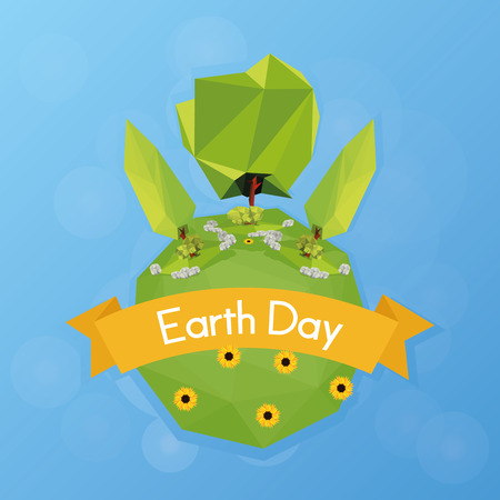 our isolated planet with trees and a ribbon with text Vector