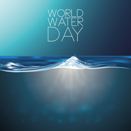 a blue background with water and text for world water day