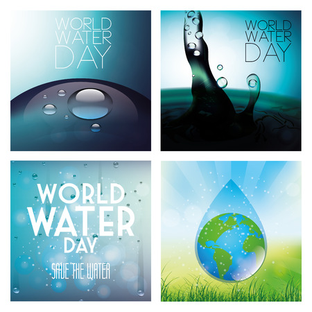a set of colored backgrounds with different elements for world water day