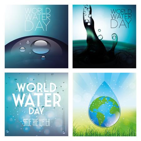 un conjunto de fondos de color con diferentes elementos para el día mundial del agua