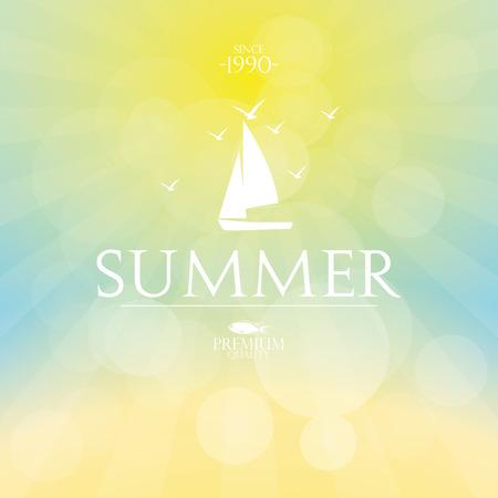 텍스트와 여름 하늘의 배경 색깔. 벡터 일러스트 레이 션