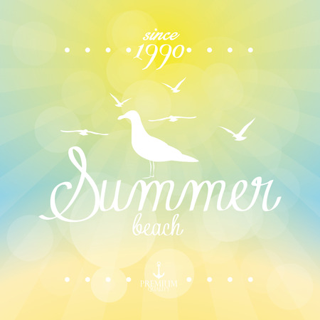 summer sky: Colored background of a summer sky with text. Vector illustration