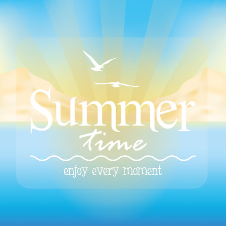 Colored background of a summer landscape with text. Vector illustration Illustration