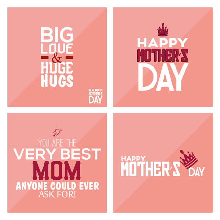 pink backgrounds: Set of pink backgrounds with text for mothers day. Vector illustration