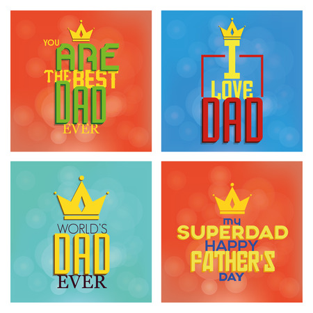 happy people white background: Set of backgrounds with text for fathers day. Vector illustration
