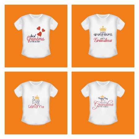 abuelos: Conjunto de camisetas con el texto sobre fondos de color naranja. Día de los Abuelos