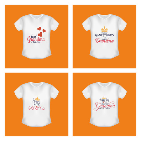 grandparents: Set of shirts with text on orange backgrounds. Grandparents day