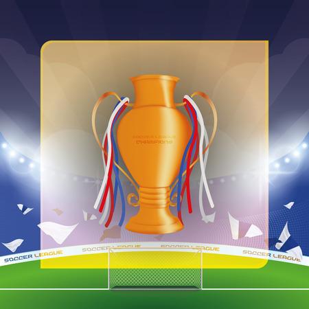 soccer stadium: Isolated golden trophy on a soccer stadium