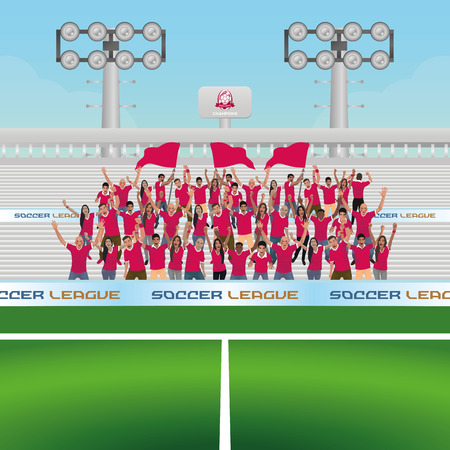 people celebrating: Beautiful view of a soccer stadium with some people celebrating. Vector illustration