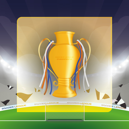 soccer stadium: Isolated golden trophy on a soccer stadium. Vector illustration