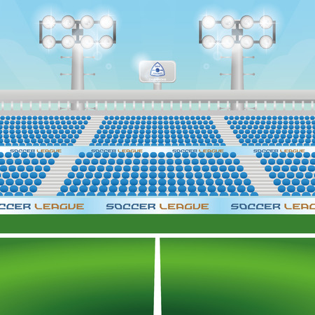 soccer stadium: Beautiful view of a soccer stadium. Vector illustration