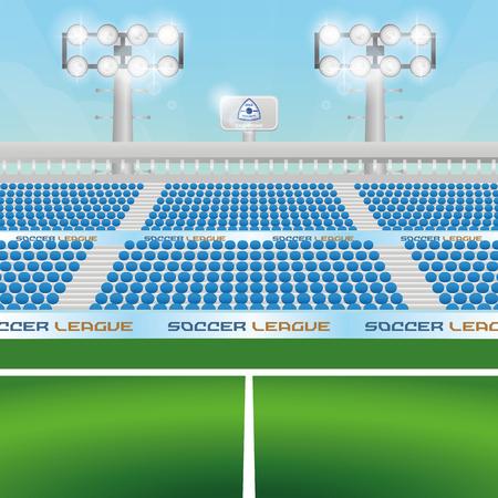 soccer field stadium: Beautiful view of a soccer stadium. Vector illustration