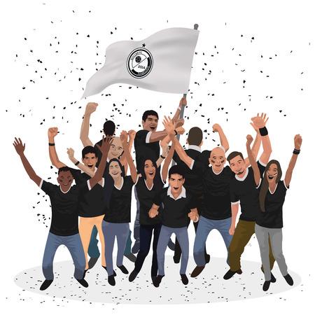 people celebrating: Isolated group of people celebrating a sport match. Vector illustration Illustration