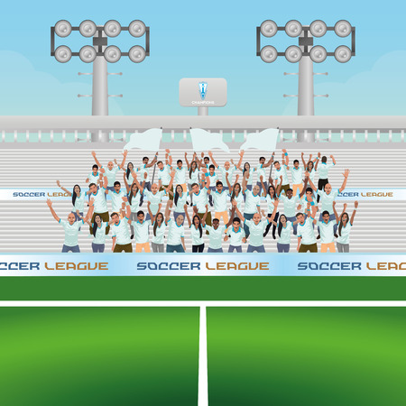 football stadium: Beautiful view of a soccer stadium with some people celebrating. Vector illustration