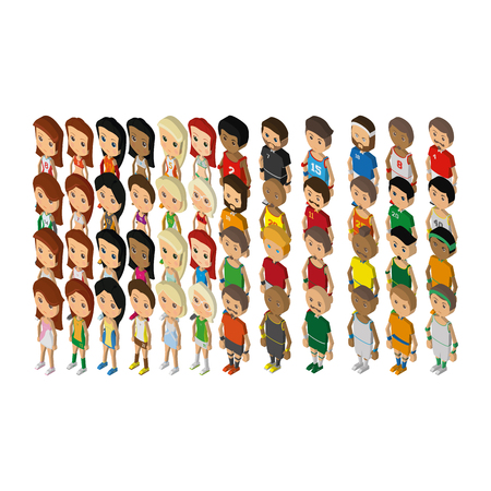 sports icon: Set of sport players on a white background