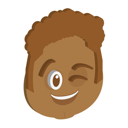 emote: Isolated facial expression on a white background. Vector illustration
