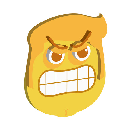 anger abstract: Isolated facial expression on a white background. Vector illustration