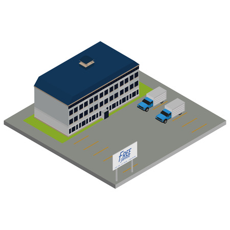 bulding: Isolated environment with a truck and a building