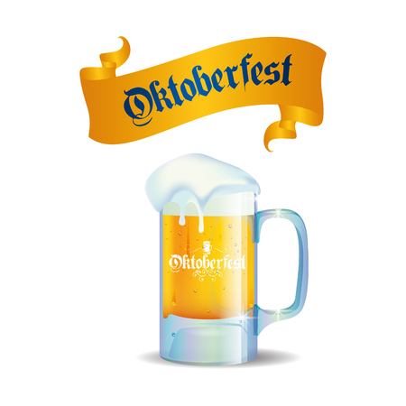 alphabet beer: Isolated beer mug with text and a ribbon on a white background Illustration