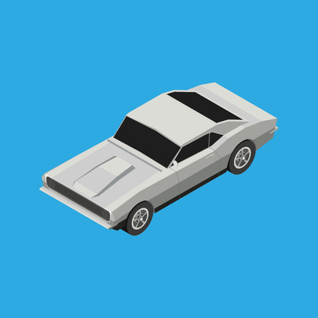 isolated on white: Isolated white car on a blue background Illustration