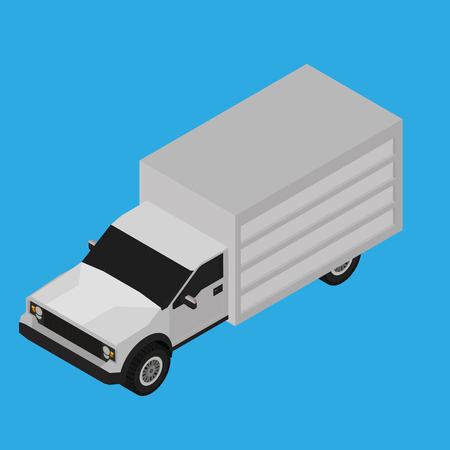 isolated on grey: Isolated grey truck on a blue background Illustration