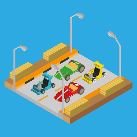 large group of objects: Group of vehicles on a road on a blue background