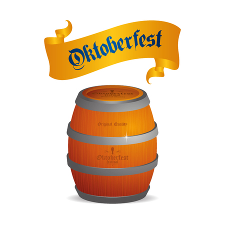 bavarian culture: Isolated beer barrel with text and a ribbon on a white background