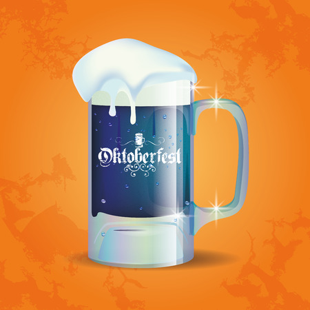alphabet beer: Isolated beer mug on a textured background for oktoberfest