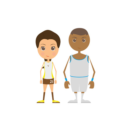 pair: Pair of sport players on a white background