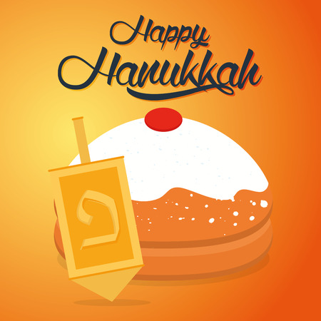 judaic: Colored background with text and traditional elements for hanukkah celebrations Illustration