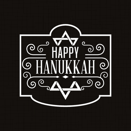 hanukkah: Black background with a label with text for hanukkah celebrations