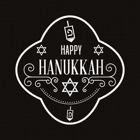 hanukah: Black background with a label with text for hanukkah celebrations
