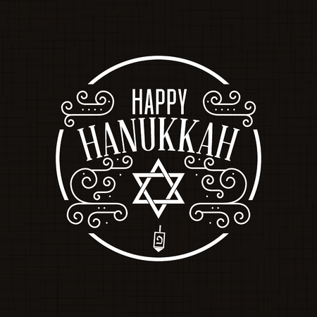 Black background with a label with text for hanukkah celebrations