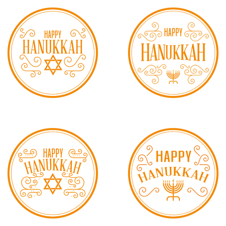 chanuka: Set of different labels with text for hanukkah celebrations