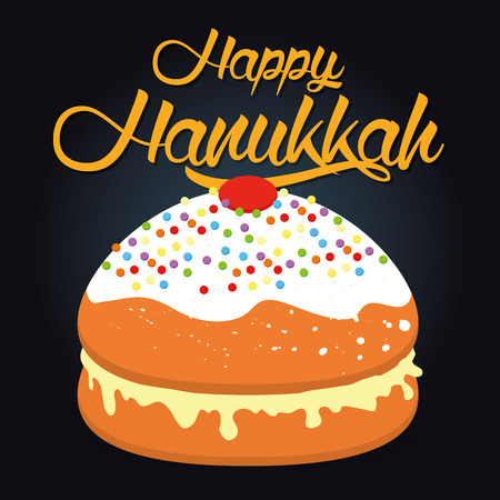 chanuka: Colored background with text and traditional elements for hanukkah celebrations Illustration