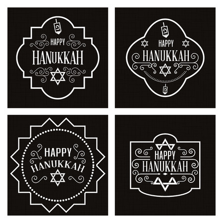 hanukah: Set of black backgrounds with labels with text for hanukkah celebrations