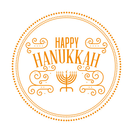 chanuka: Isolated round label with text for hanukkah celebrations