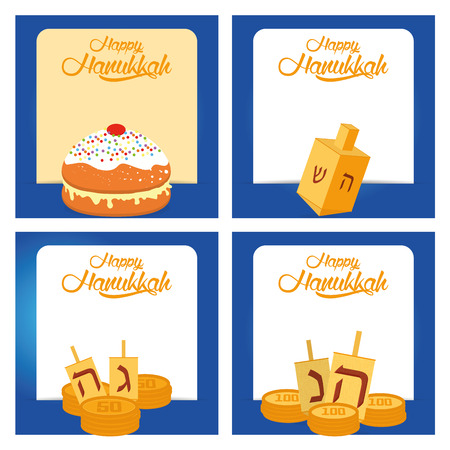 jewish group: Set of colored backgrounds with text and traditional elements for hanukkah celebrations Illustration