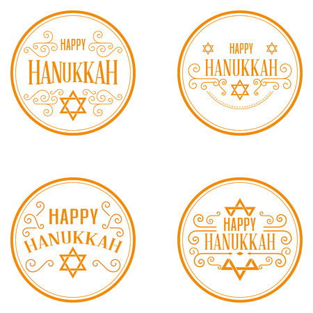 Set of different labels with text for hanukkah celebrations