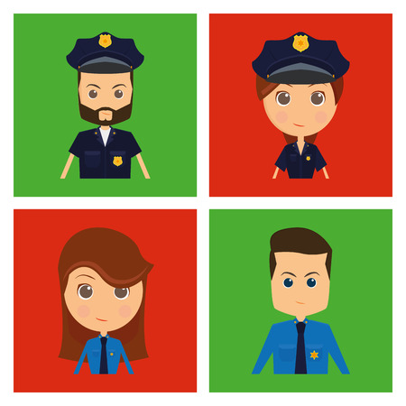 communication cartoon: Set of people with different jobs on a white background