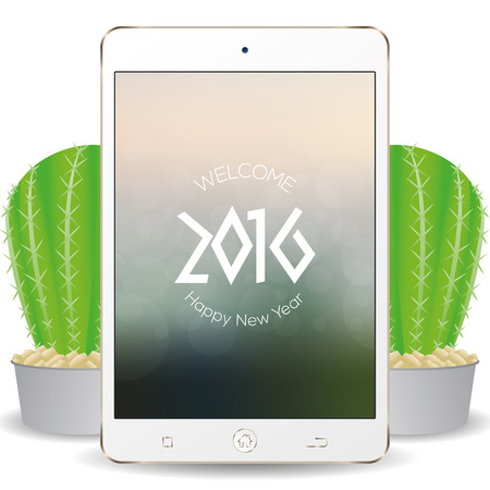 screensaver: Isolated cellphone with a screensaver with text for new year celebrations
