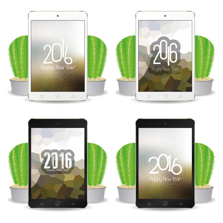 screensavers: Set of cellphones with different screensavers with text for new year celebrations