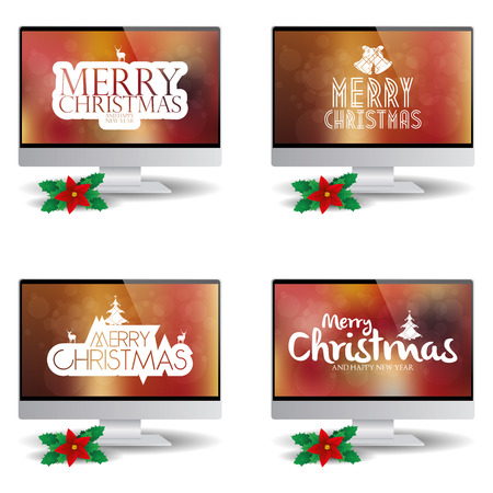 christmas backgrounds: Set of computer screens with backgrounds with text for christmas celebrations