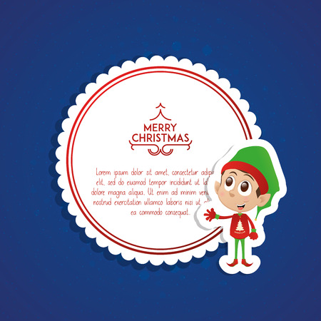 elf: Isolated banner with text and a christmas elf on a colored background Illustration